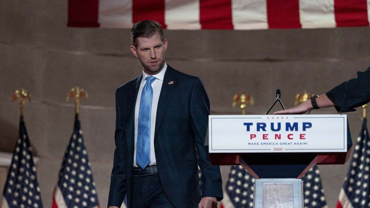 Eric Trump, the son of President Donald Trump, arrives before taping his speech for the second day of the Republican National Convention.