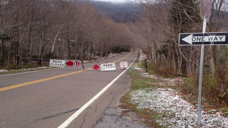 Snow in the forecast has closed the Notch Road-File photo