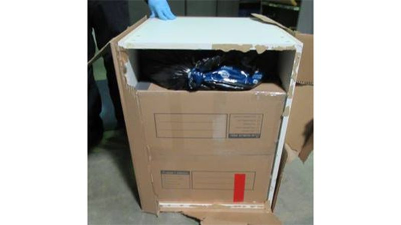CBP discovered 1,432 pounds of pot hidden inside kitchen cabinets at the Highgate Springs border.
