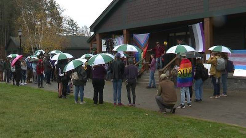 Paul Smith's College students hold a walkout Thursday.