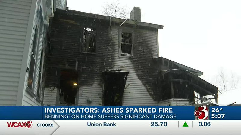 Investigators say stove ashes left in a garbage can almost burned a Bennington house to the...