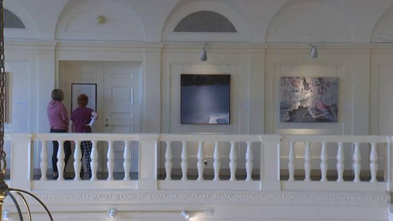 Visitors at the UVM Fleming Museum of Art in Burlington.