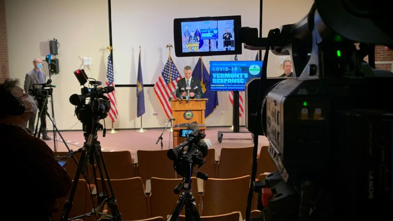 Tuesday's COVID press briefing in Montpelier.