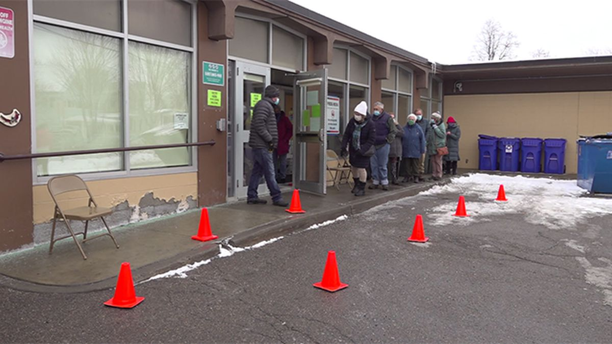 Seniors line up for Burlington vaccination clinic Wednesday.
