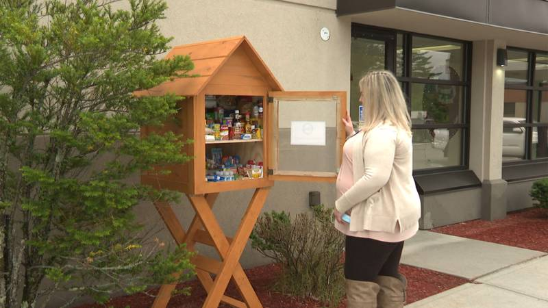 The little free pantry outside Cottage Hospital in Woodsville, New Hampshire.