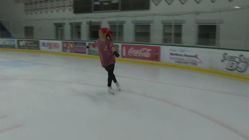 Sophie Nye, 12, practices figure skating.