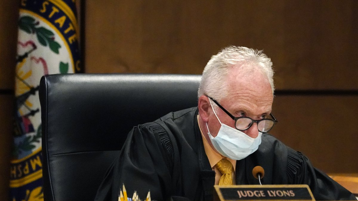 File - Judge William Lyons speaks, April 12, 2021, during a video bail hearing in New Hampshire...