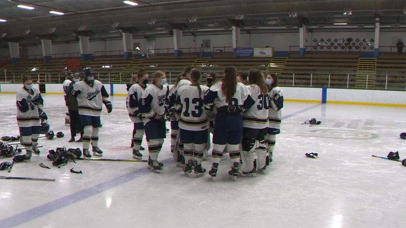 The Essex girls hockey team was already on the ice warming up when the Division 1 championship...