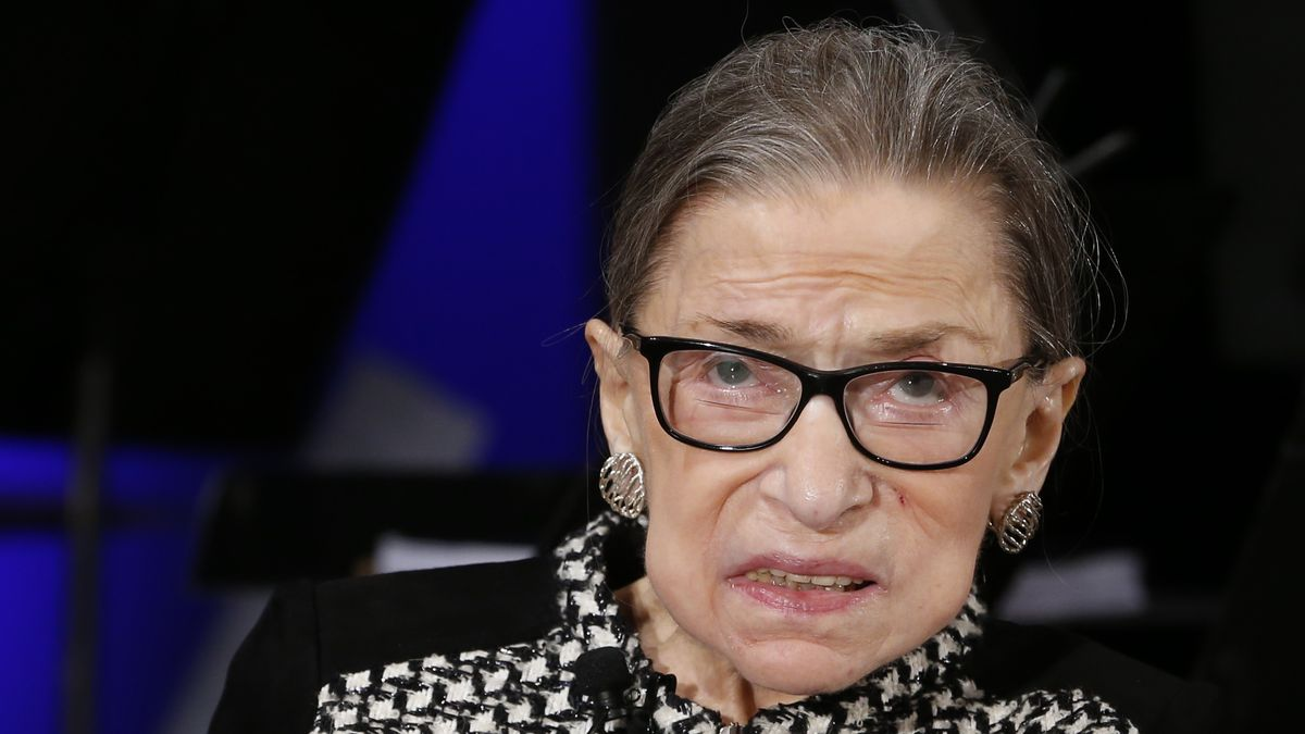 FILE - In this Dec. 17, 2019, file photo, Supreme Court Justice Ruth Bader Ginsburg looks up as she speaks about the antics of her son as she speaks with author Jeffrey Rosen at the National Constitution Center Americas Town Hall at the National Museum of Women in the Arts in Washington.