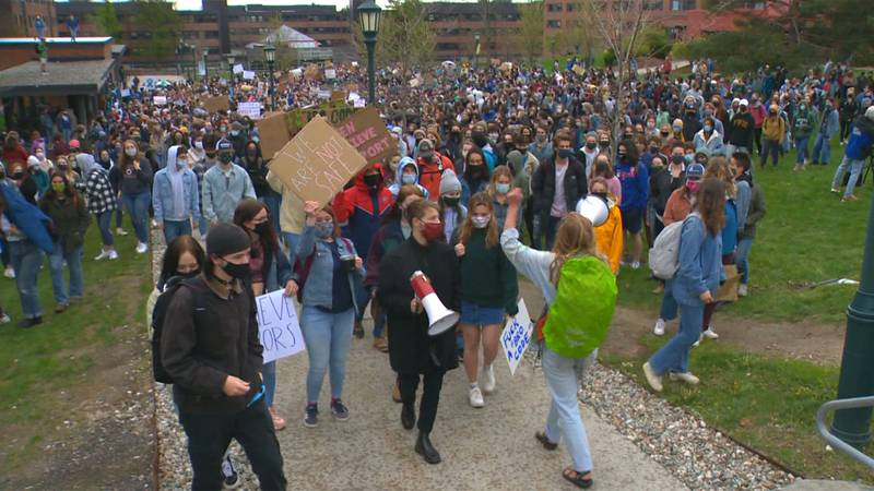 More than 1,000 UVM students walked out of class on Monday in a march for survivor solidarity.