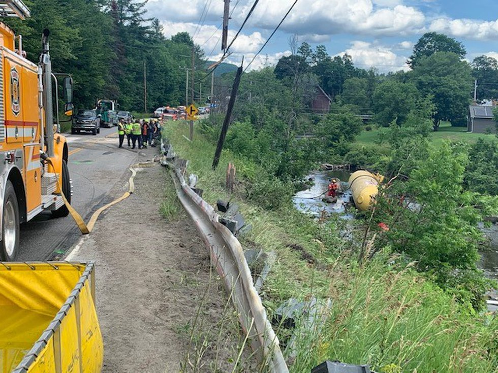 A truck pulling a full-load of propane flipped on Route 2 in Marshfield Monday morning, sending...