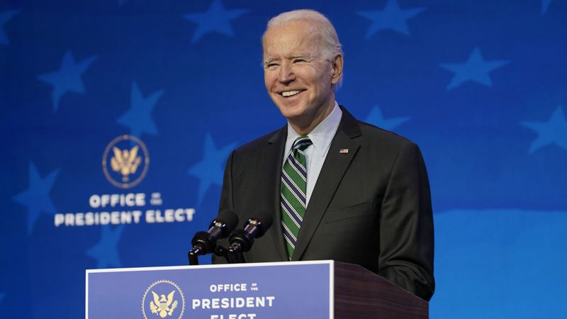 President-elect Joe Biden speaks during an event at The Queen theater, Saturday, Jan. 16, 2021,...