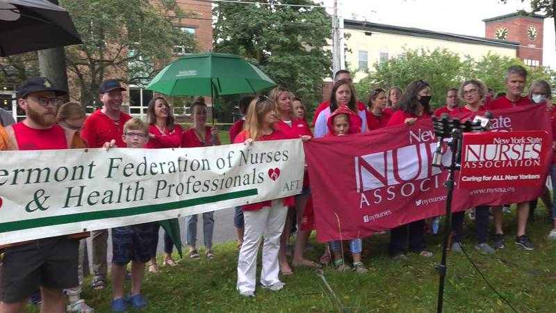 Health care workers with the UVM Health Network are back on Burlington's streets demanding fair...