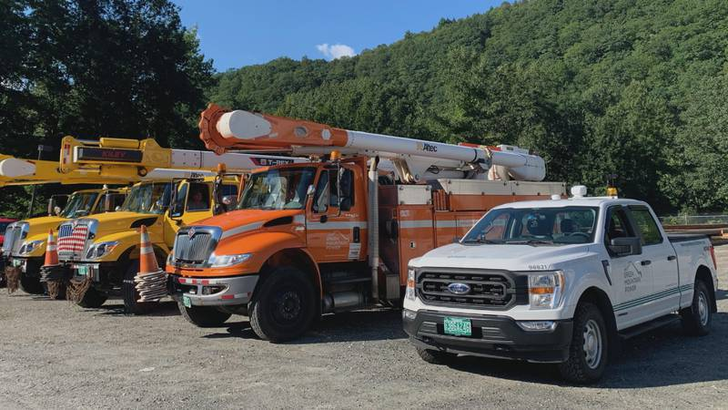 Green Mountain Power crews prepare to repair lines damaged by Hurricane Idea in the New York area