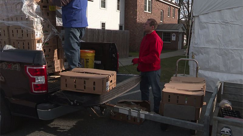 Turkey delivery to Sacred Heart Parish in Lebanon Thursday.