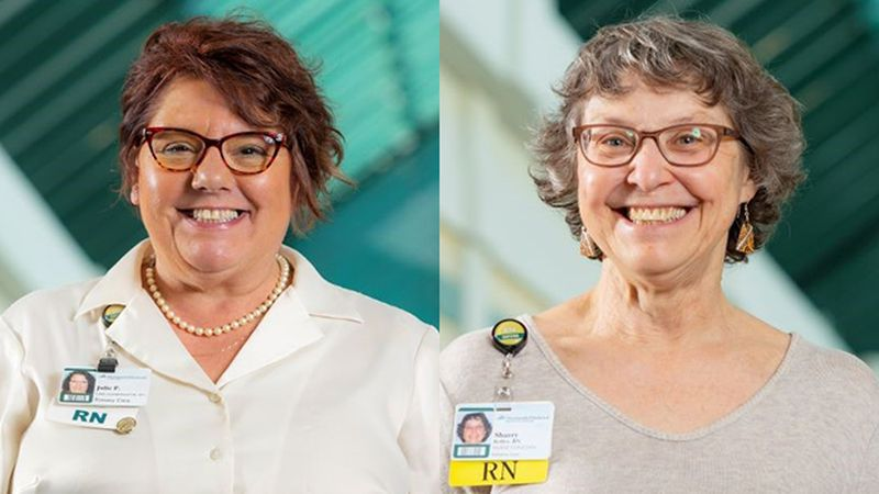 Julie Percy and Sharry Keller, recipients of DHMC's 2020 Excellence in Nursing Award.
