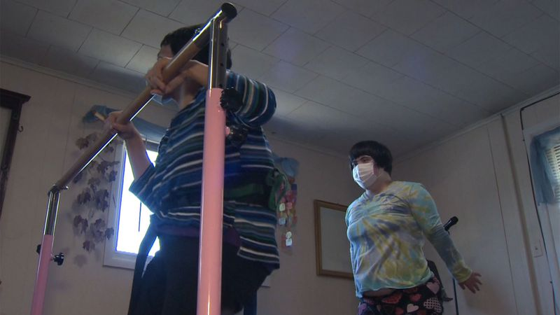 Special Olympic athletes Grace and Faith DeFelice train as part of the Triple Combine Fitness...