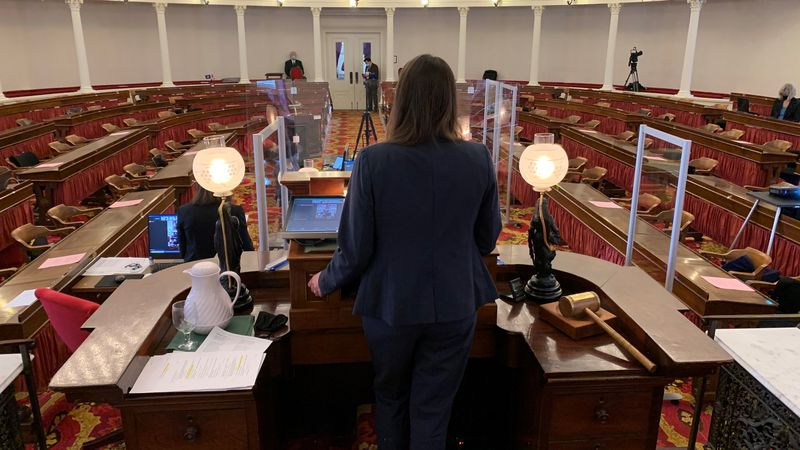 Incoming Vermont House Speaker Jill Krowinski gaveling in the 2021 session to an empty chamber.