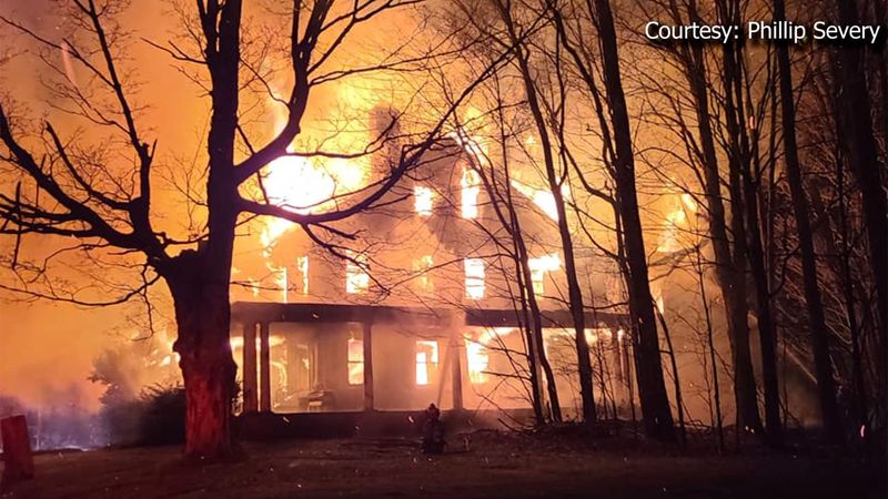 Fire destroyed a home in Cuttingsville on Saturday.