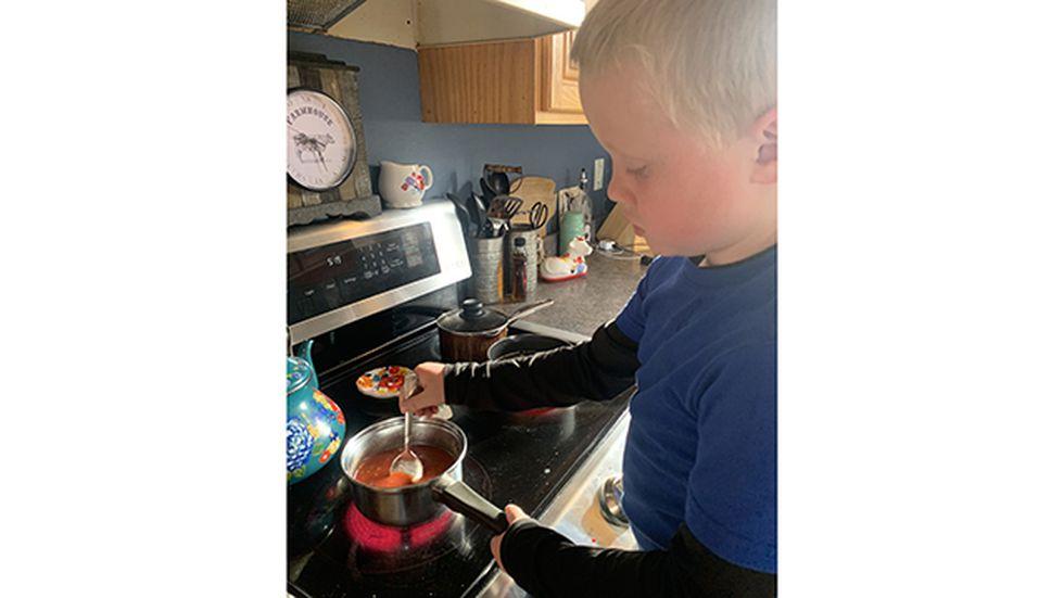 Jack Broe mixing up his 'vaccine' recipe.