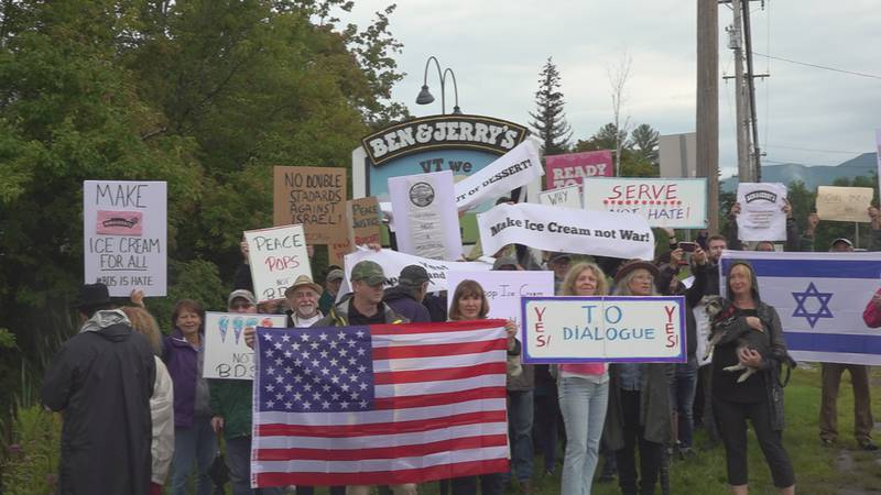Jewish Communities of Vermont holds a rally to call on Ben and Jerry's to use their resources...