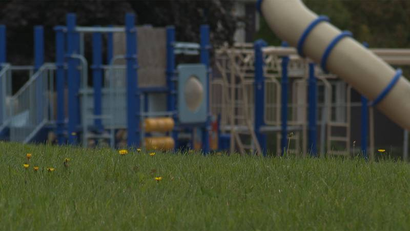 The playground was empty at lunchtime Monday, as 900 students in pre-K to fifth grade remained...