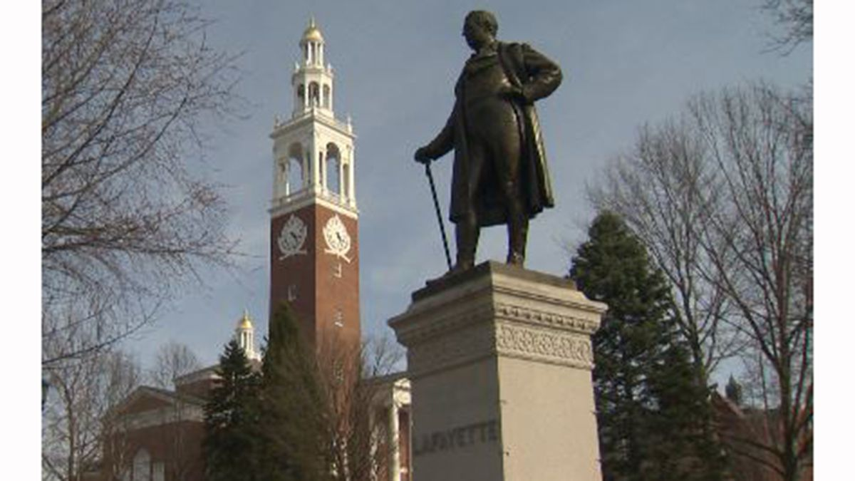A statue of the Marquis de Lafayette on the University of Vermont campus. A new historical...