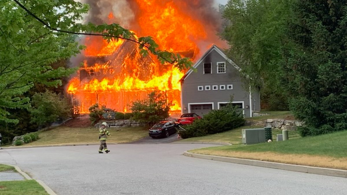 Investigators say a lighting strike sparked the blaze on Hawley Road in Shelburne Saturday.