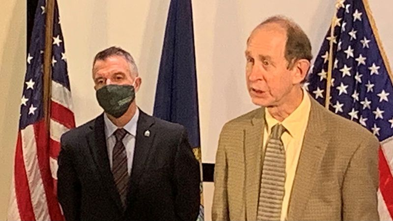Gov. Phil Scott and Health Commissioner Dr. Mark Levine at Tuesday's briefing.