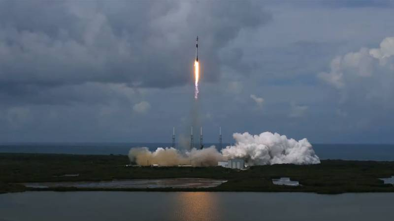 A SpaceX Falcon 9 rocket launches from Cape Canaveral on June 30.