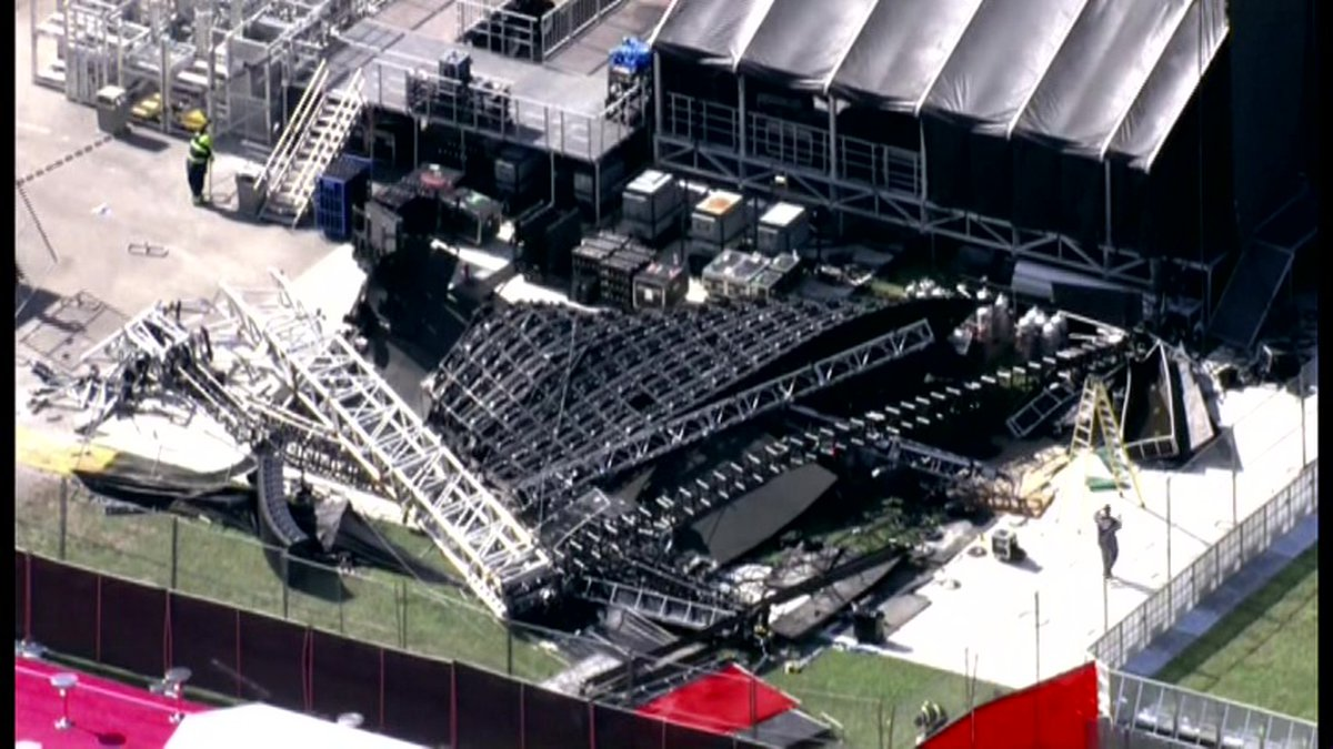 A stage wall collapses one day before a major music festival in Miami.