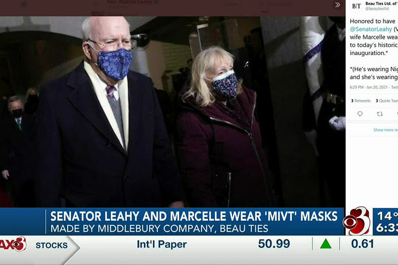 Sen. Leahy and his wife Marcelle wore Vermont-mad masks while in Washington on Wednesday.