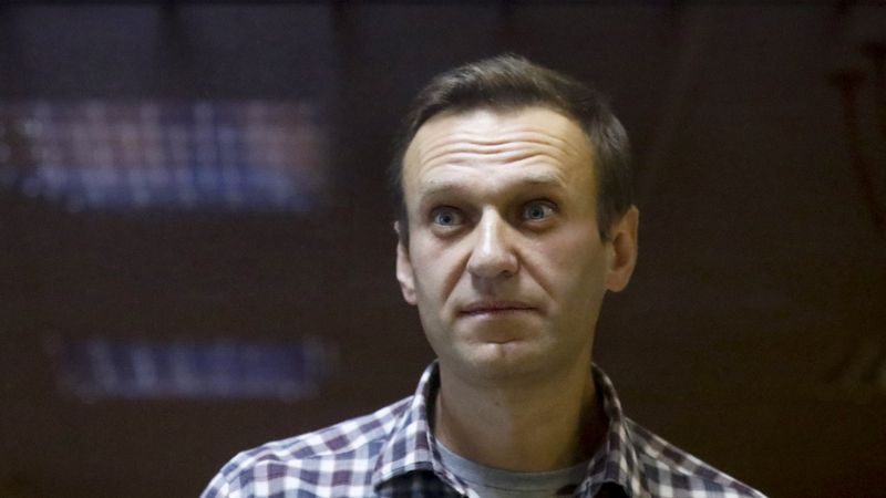 FILE - In this Saturday, Feb. 20, 2021 file photo, Russian opposition leader Alexei Navalny...