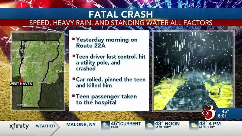 Heavy rain in West Haven may have played a part in a deadly crash that killed a teenager.