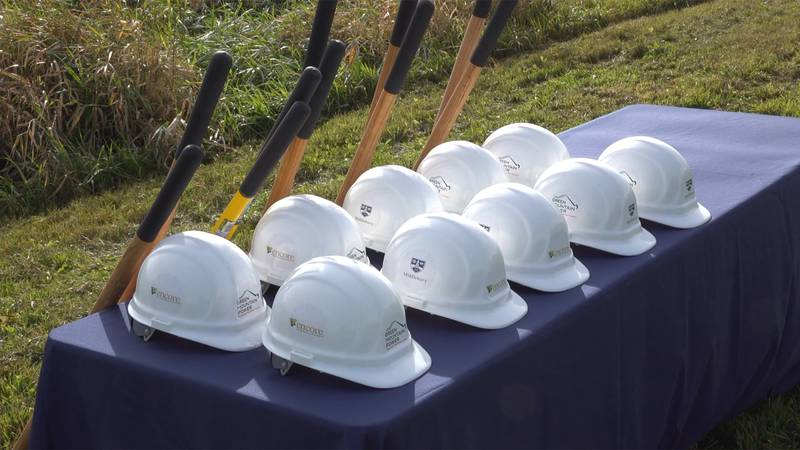 A big solar project broke ground Tuesday on Middlebury College's land.