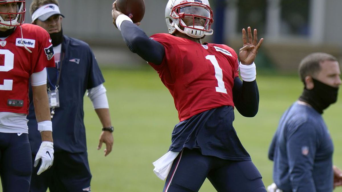 New England Patriots quarterback Cam Newton throws during an NFL football training camp practice, Tuesday, Aug. 25, 2020, in Foxborough, Mass. (AP Photo/Steven Senne, Pool) (Source: Steven Senne)