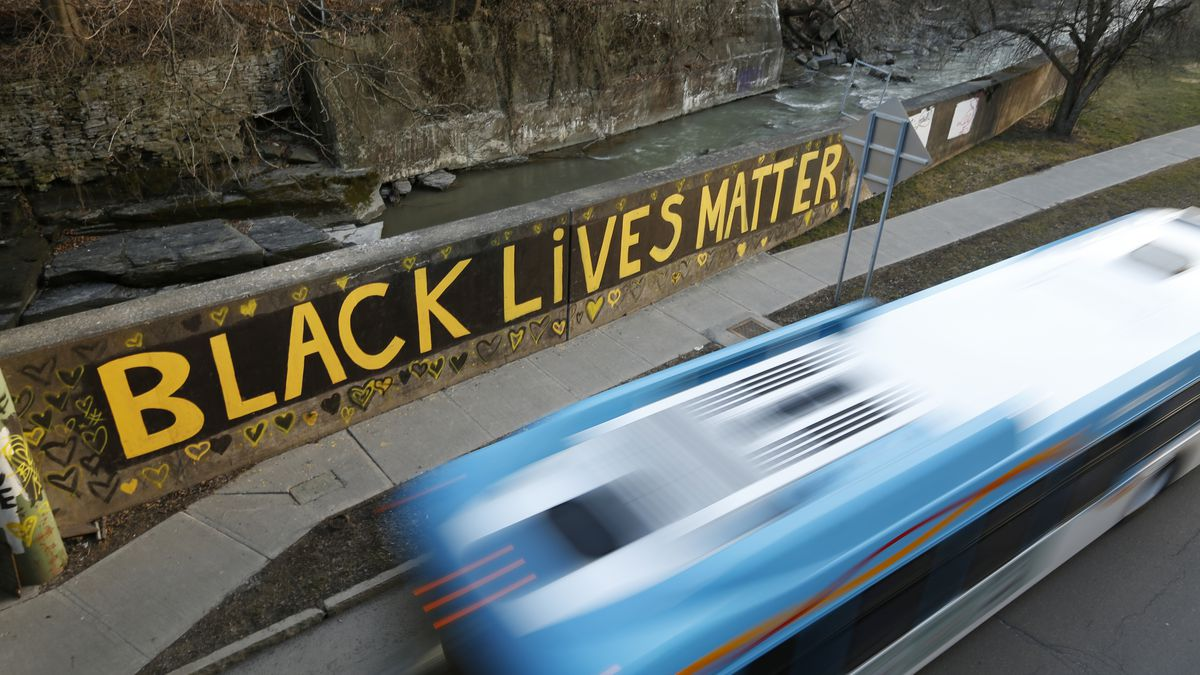 Black Lives Matter is seen along East Green Street, Monday, March 22, 2021, in Ithaca, N.Y.