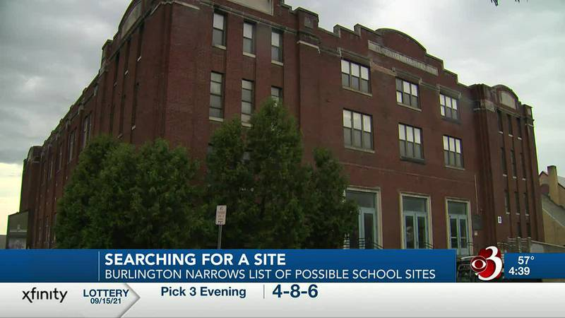The Burlington School Board narrows the list of potential sites for a new high school to three....