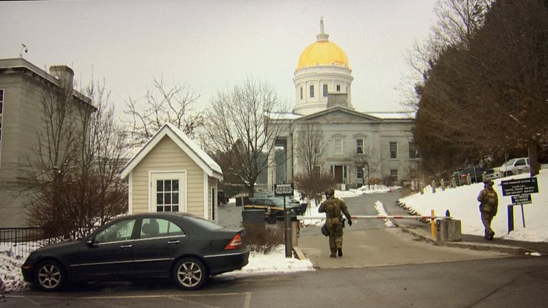 Vermont State Police tactical teams provide heightened security at the  Vt. Statehouse in...