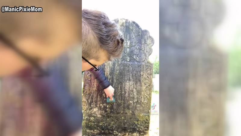 From creepy to squeaky clean-- a Vermont woman cleans headstones and shares the process on...
