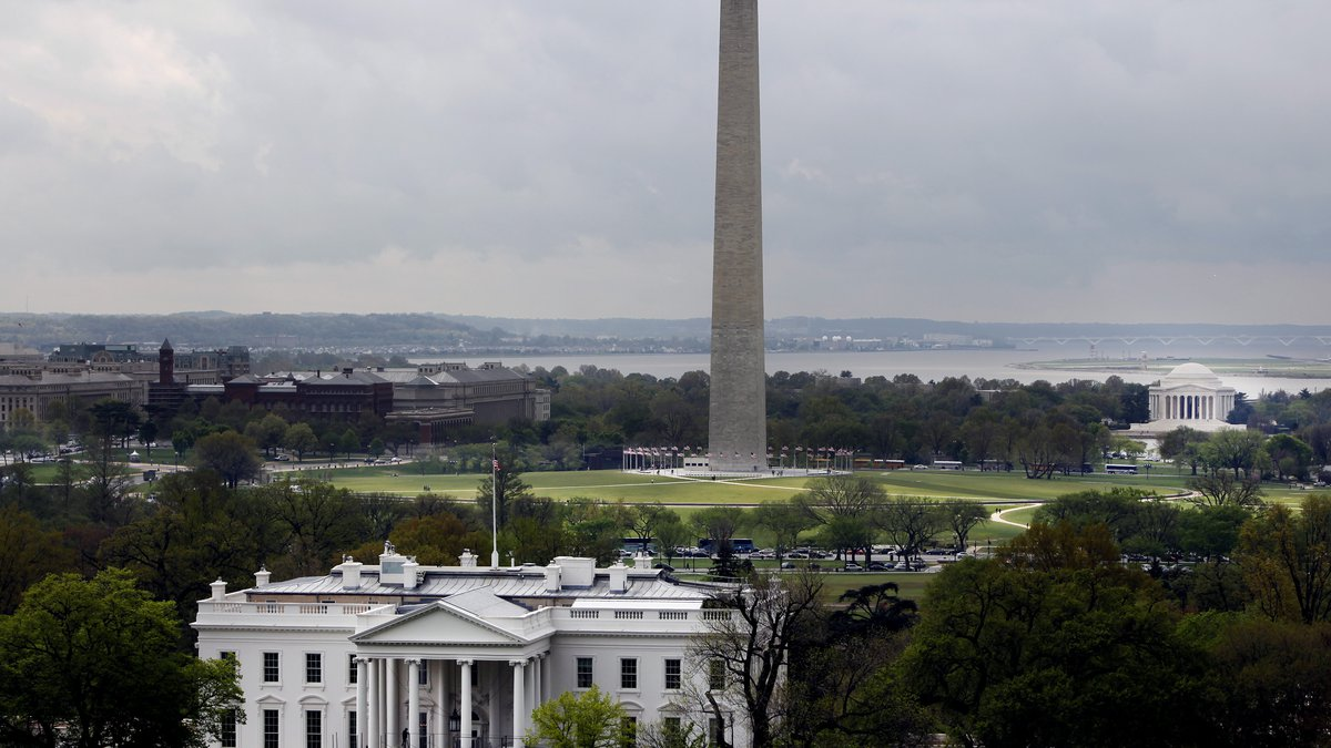 In this April 22, 2009 file photo, the White House, Washington Monument and Jefferson Memorial...