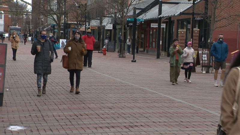 The spring-like temperatures had people out and about on Burlington's Church Street Marketplace.