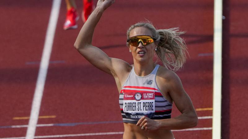 Elle Purrier St. Pierre celebrates after winning the women's 1500-meter run at the U.S. Olympic...