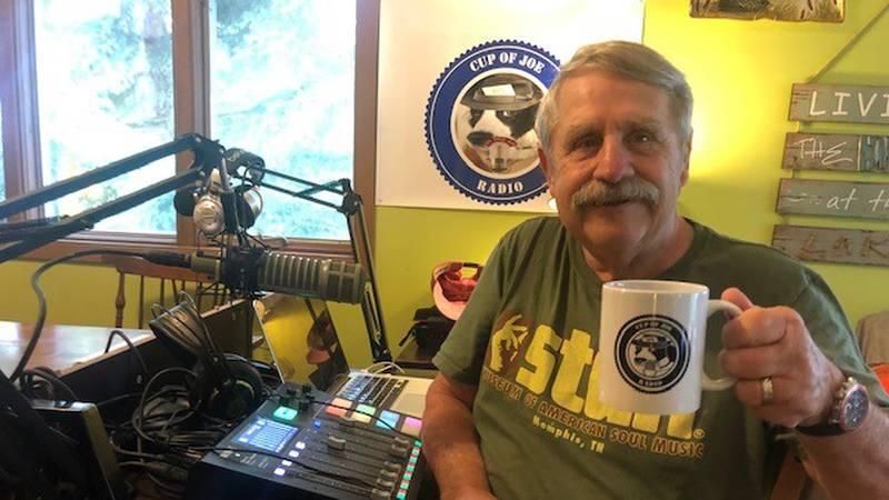 """Cup of Joe Radio"" host Mike Spotswood at his home studio in Tupper Lake."