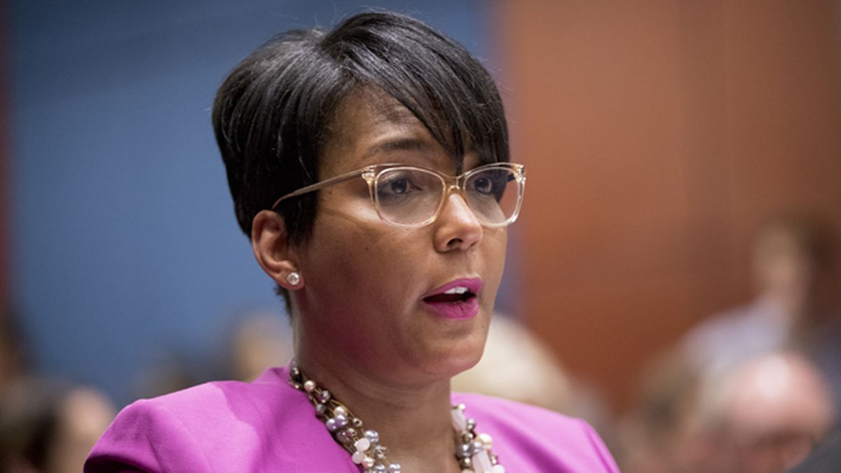 In this July 17, 2019 file photo, Atlanta Mayor Keisha Lance Bottoms speaks during a Senate Democrats' Special Committee on the Climate Crisis on Capitol Hill in Washington. (AP Photo/Andrew Harnik, File) (GIM)