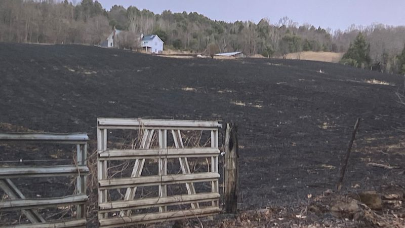 The aftermath of a brush fire in Bradford, Vermont.