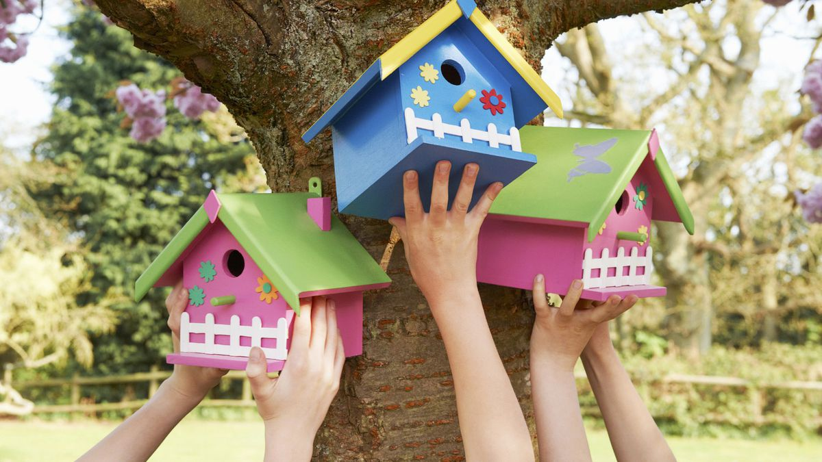 The painted birdhouses project supported by AVA Gallery and Art Center.