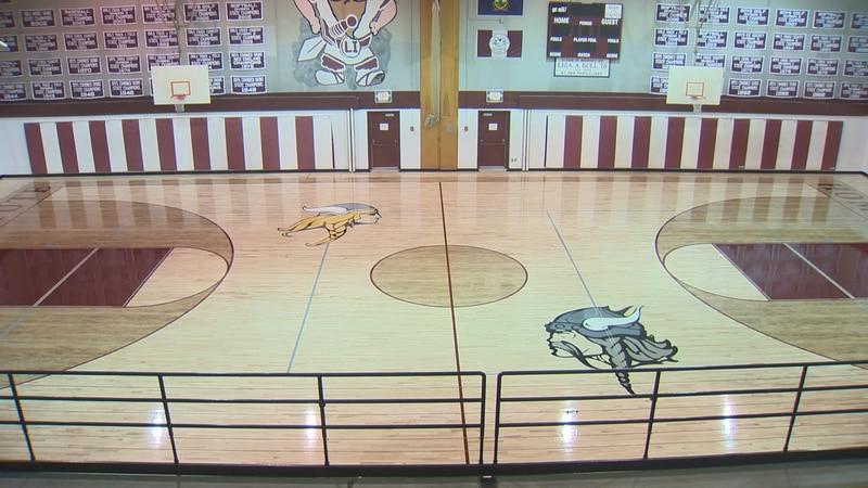 Lyndon Institute's new gym floor.