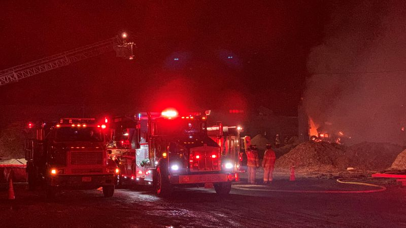 Crews battled a fire at Cyr Lumber on Poor Farm Road in Milton Monday afternoon.