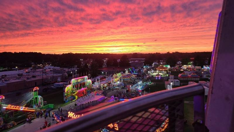 View from the top of the Ferris Wheel at The Champlain Valley Fair Wednesday evening.